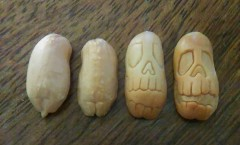 Day of the Dead Skulls carved from peanuts.