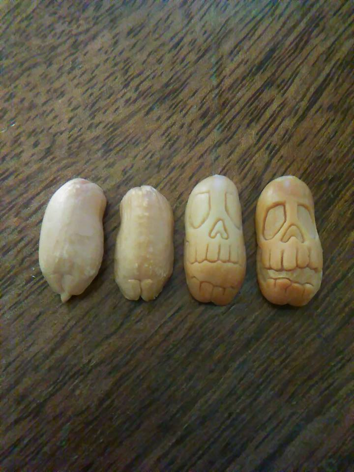 'The Skull' Peanut Carving